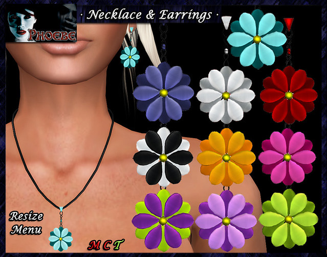 *P* Flowers Necklace & Earrings -transfer-