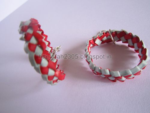 Handmade Jewelry – Paper Strips Knot Hoops (Maroon-Sky Blue) 1 by fah2305