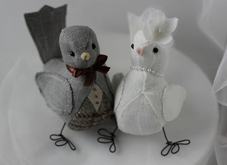Wedding Love Birds Cake topper Tweed