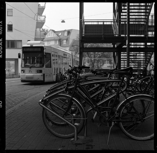 The tram and the bicycles in Jena