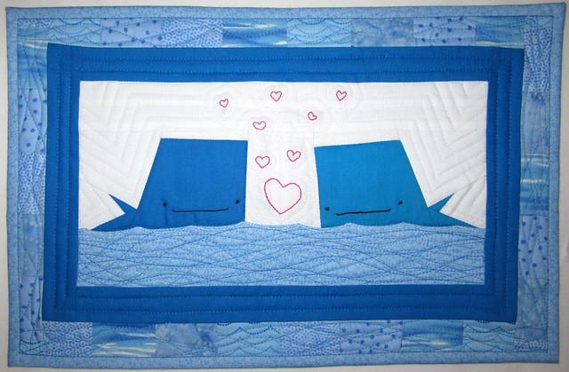 whales mini quilt