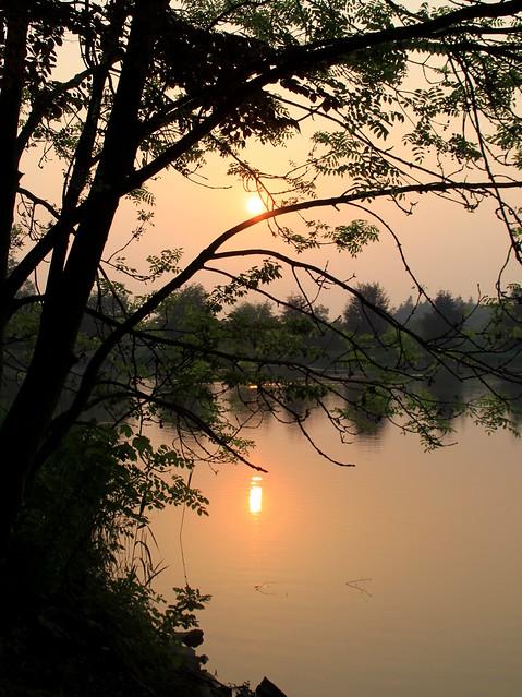 zonsondergang, vijver Abdij van't Park, Heverlee