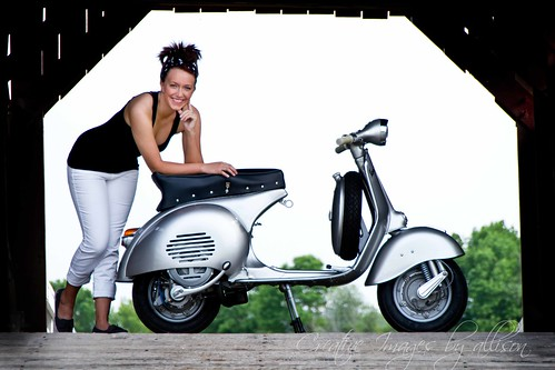 Samantha and 1959 Vespa GS150 #2  Photoshoot by: Creative images by Allison by www.greentreescooters.com
