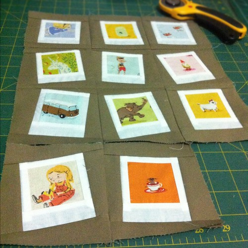 Heather Ross polaroid mini quilt in progress