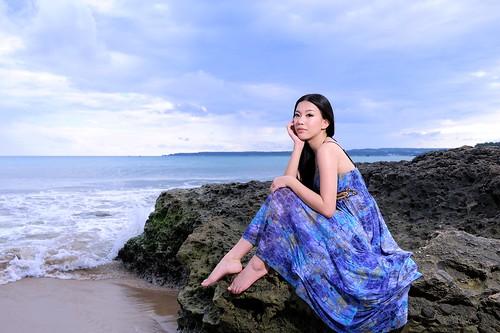 無料写真素材, 人物, 女性  アジア, ワンピース・ドレス, 人物  海, 台湾人, 頬杖
