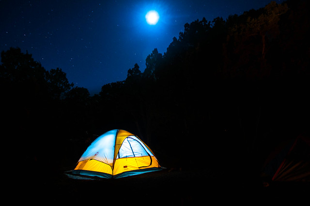 Night photo at Camp site near Bumble Bee, Arizona, May 27, 2012; with long exposure, tent lit from inside stands out.
