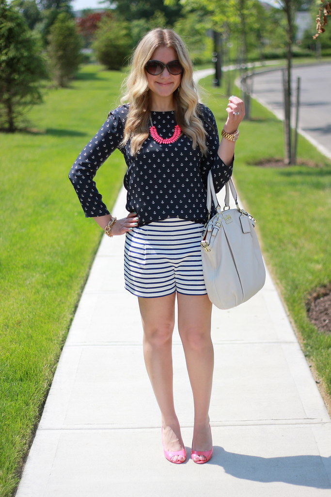 Anchor Print Top and Striped Shorts Summer Outfit
