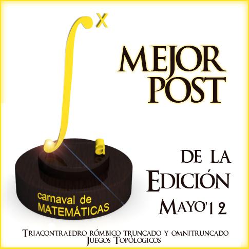 Premio al Mejor Post de la Edición 3,1415 del Carnaval de Matemáticas