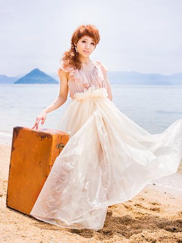 [フリー画像素材] 人物, 女性 - アジア, ワンピース・ドレス, 人物 - 海, 日本人 ID:201206240800