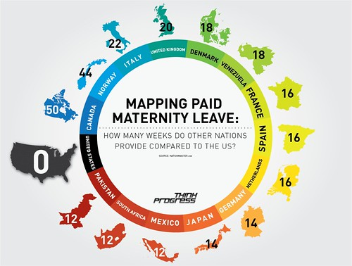 Infographic on how many weeks each country offers in paid maternity leave. The US is the lowest, at zero. More explanation after the jump.