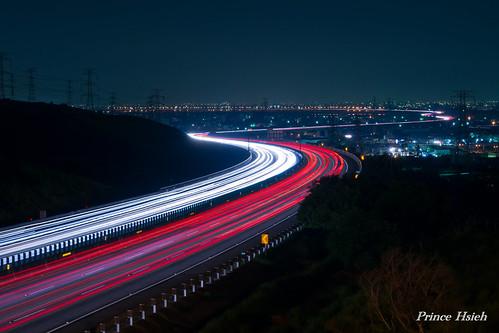 taiwan nightview 夜景 sigma70300mm 台中市 taichungcity 龍井 車軌 lungjing 國道3號 highwayno3 carstrails sonya850