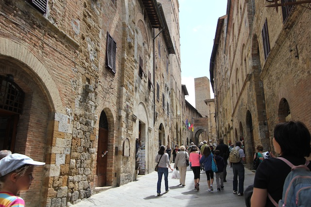 Tourists in San Gimignano