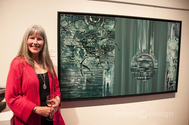 "j.d. evans posing with her piece, ""Changing States"""
