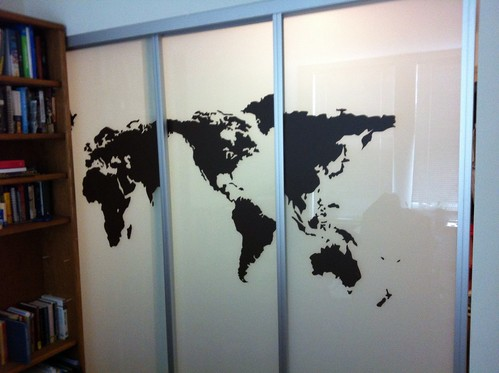 World Map Vinyl on Sliding Doors