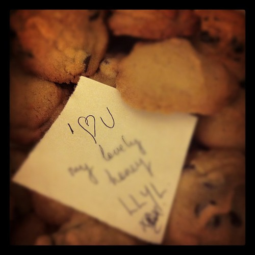 Surprise love notes in the cookie tin. I've got the best gal in the world @loudoch