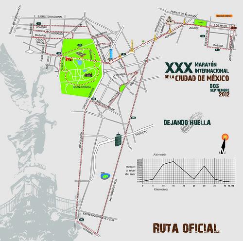 Ruta del Maraton Internacional de la Ciudad de Mexico 2012 (MICM)