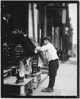 Michael Mero, Bootblack, 12 years of age, working one year of own volution. Don't smoke. Out after 11 P.M. on May 21. Ordinarily works 6 hours per day, May 1910