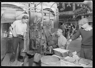 Glass bottles. Pressing and shaping in T. C. Wheaton Co, March 1937
