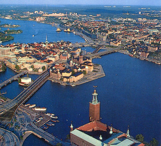Stockholm - Gamla Stan and Slussen from Air (Postcard)