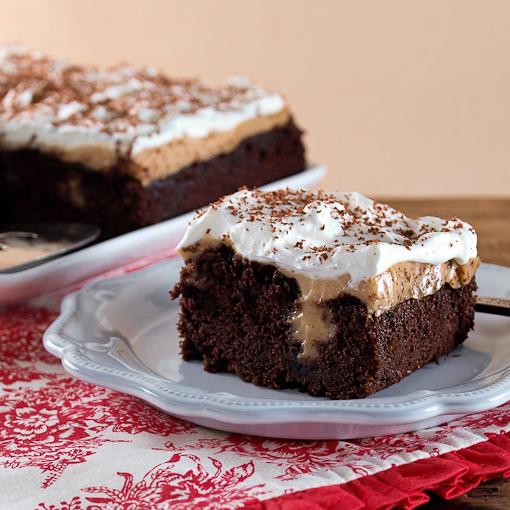 Chocolate Peanut Butter Pudding Poke Cake - Evil Shenanigans