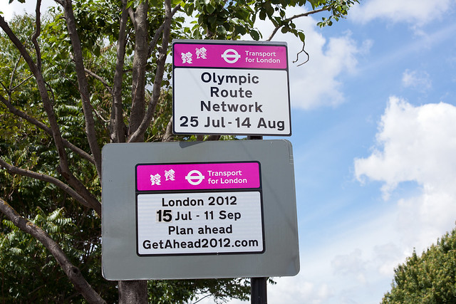 Olympic Route Network road signs on The Highway - 12 July 2012
