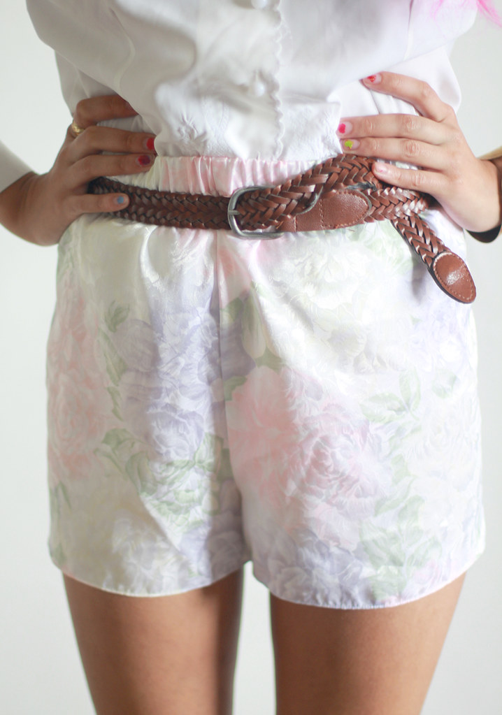 Vintage Pastel creme high waist floral shorts by Tarte Vintage at shoptarte.com
