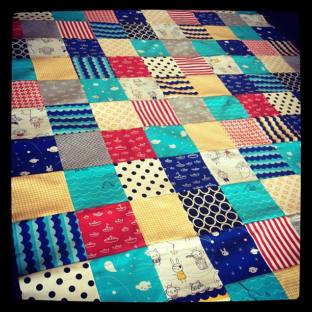 Quilt top for my youngest complete!!!! Love these @cloud9fabrics !!