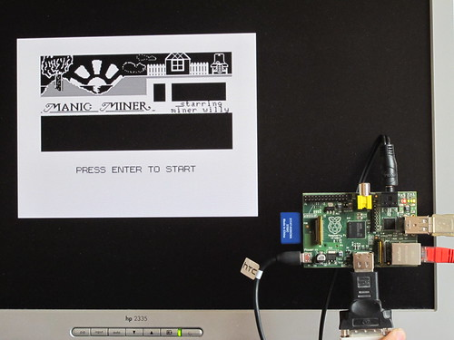 Manic Miner on Raspberry Pi via XRoar Dragon emulator