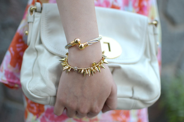 Stella & Dot gold renegade pave spike bracelet