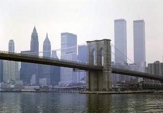 Manhattan Island through Brooklyn Bridge