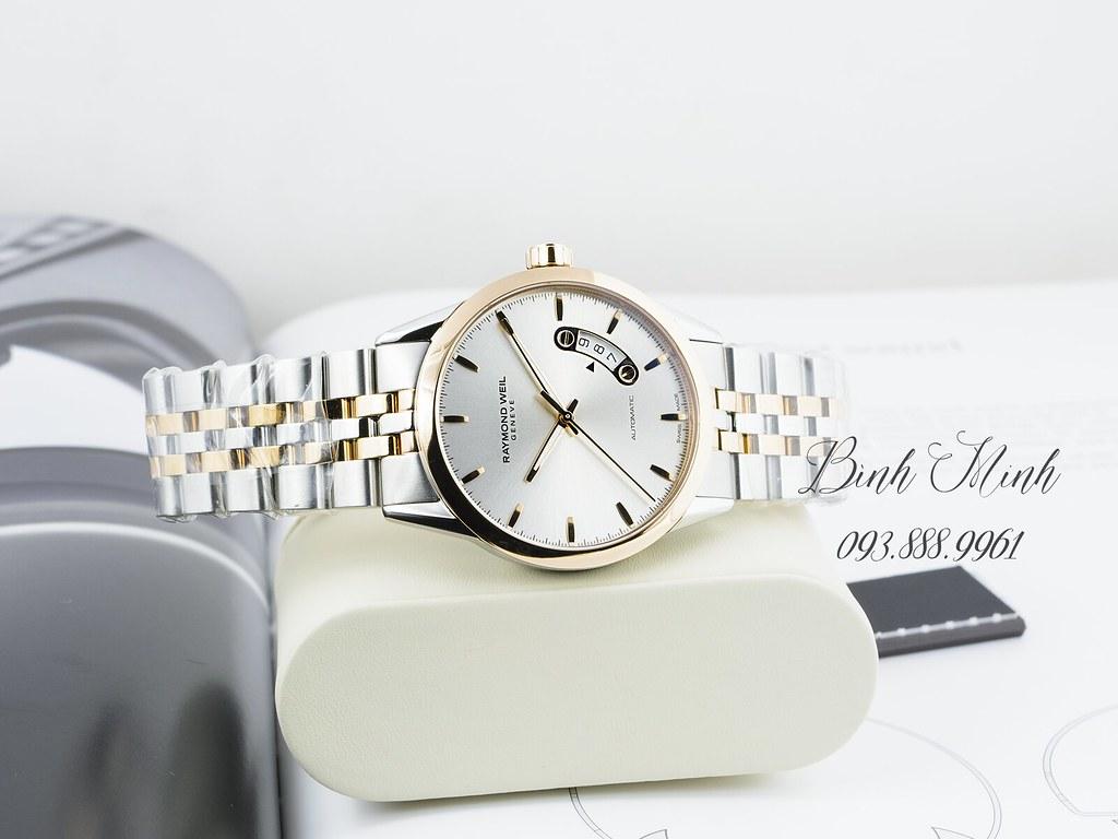 Đồng hồ Raymond Weil Freelancer máy automatic demi vàng hồng, mới 100% đủ hộp sổ