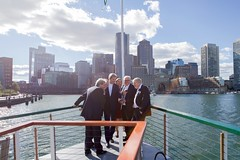 U.S. Secretary of State John Kerry and his counterparts look at a cellphone aboard the 'Northern Lights' as he hosts the Foreign Ministers from the United Kingdom, France, Germany, Italy, and the European Union for a cruise around Boston Harbor in Boston, Massachusetts, on September 24, 2016, amid a daylong series of meetings of the so-called Quintet in the Secretary's home-state of Massachusetts. [State Department photo/ Public Domain]
