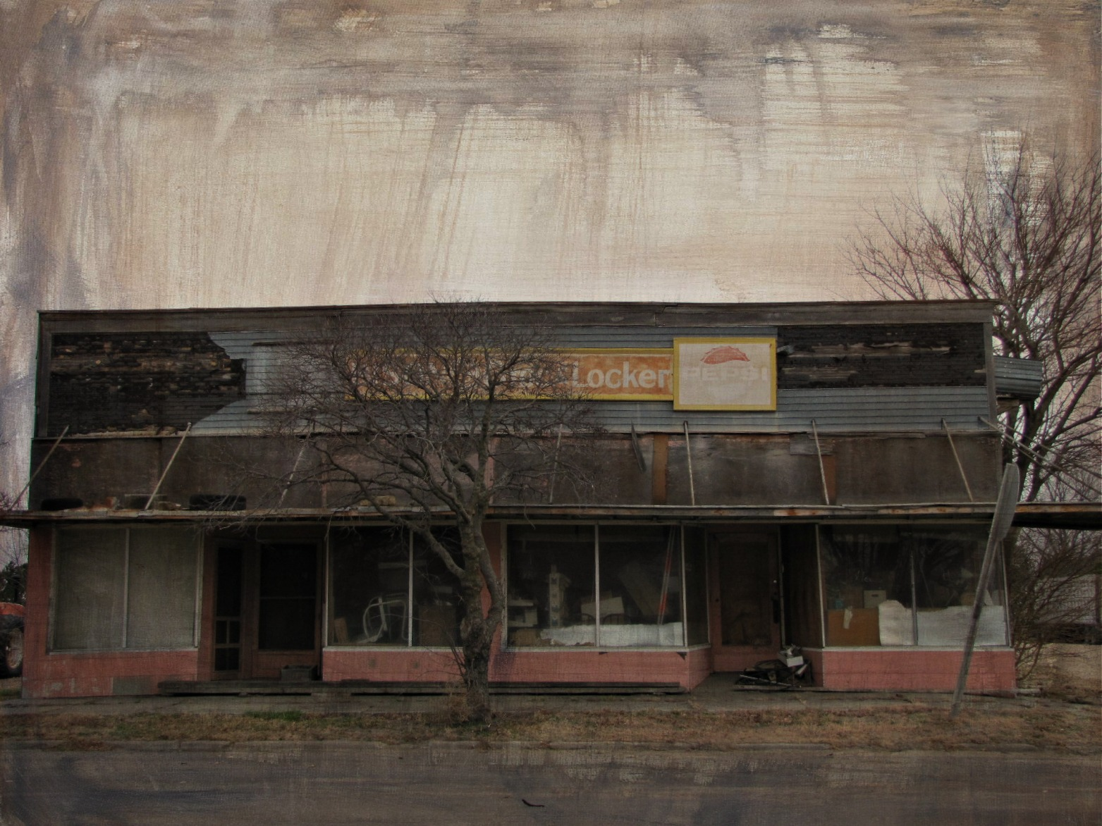 Kansas rush county otis - Reflection Abandoned Awning Decay Kansas Pepsi Grocery Bison Enhanced Smalltown Metalsigns Meatlocker Persicola