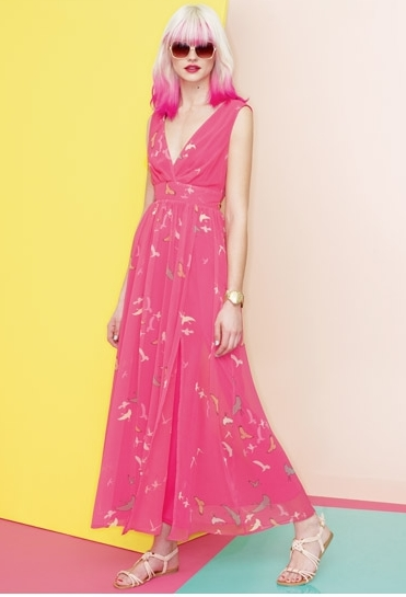 Olivia Rubin´s Collection for Dorothy Perkins - Pink bird maxi dress