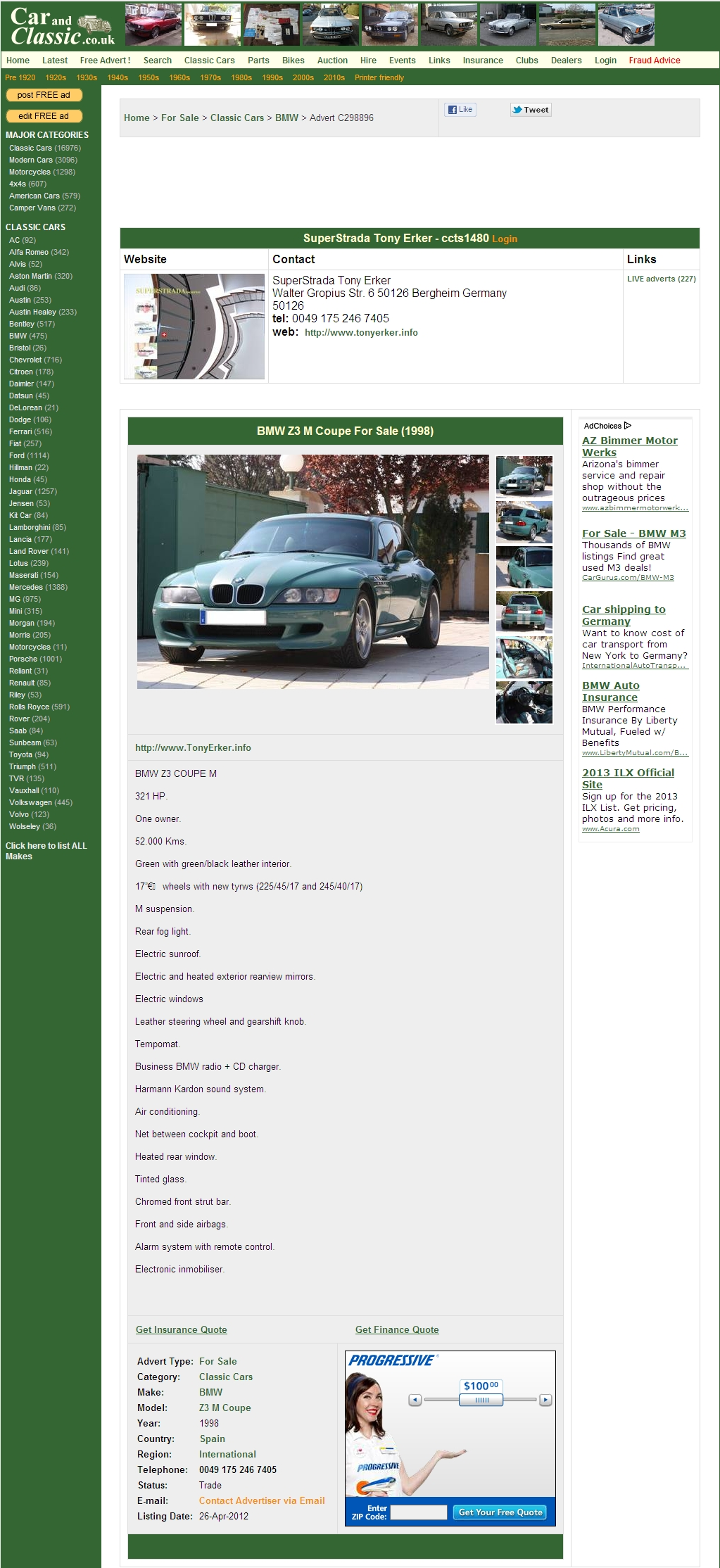 1998 M Coupe | Evergreen | Evergreen/Black | Ad Screenshot