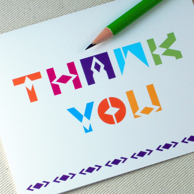 Thank you card geoletric by oh geez design bright Oh design