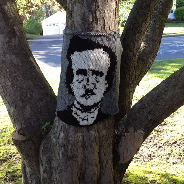 Another literary yarn-bomb at the library. Mr. Edgar Allan Poe knit onto a tree.