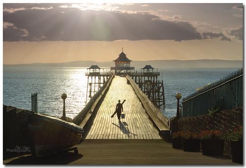 shadow sea silhouette clouds canon golden pier fisherman hour 7d coastline sunray clevedon 24105