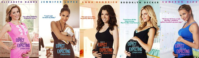 collage of the posters for the movie, showing the four main women characters in various stages of pregnancy