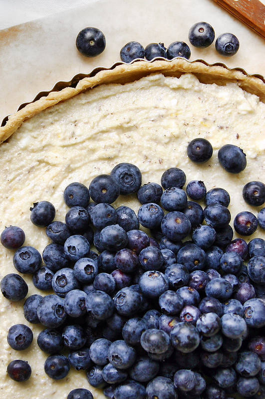 blue berry ricotta tart topped