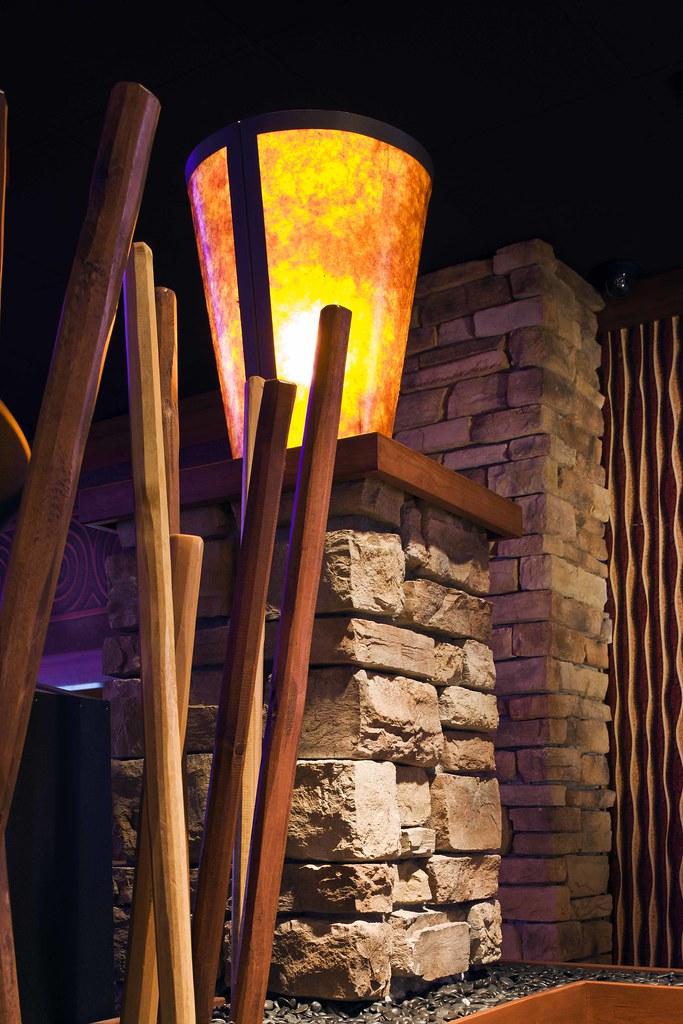 Interior design lighting design custom casino decor for River rock columns