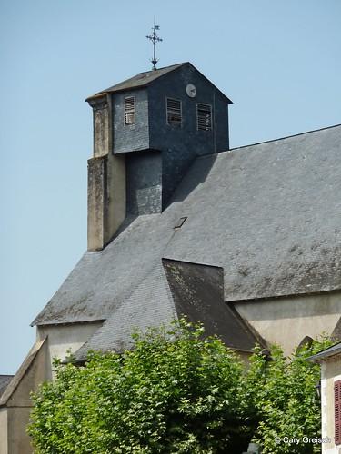 Le clocher de l'église de Lasseube (2011-08-13 -10)