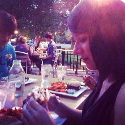 Beth has a moment with her what's shakin' tuna bacon burger.