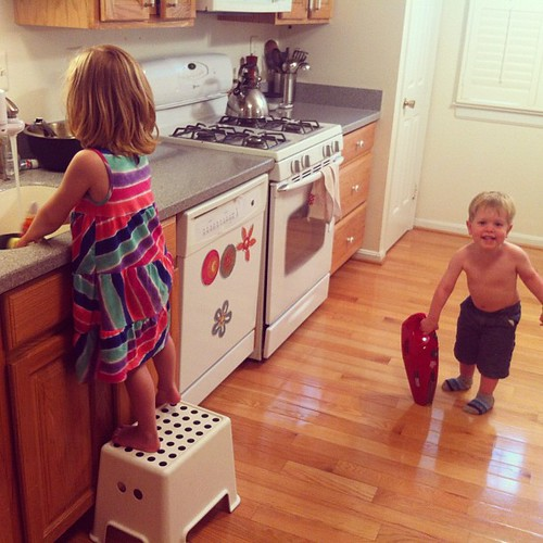 Seriously, isn't this why you have kids? One is vacuuming, the other is doing the dishes.