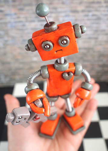 Robot Sculpture Orange Olie Rustic Bot with Robot Doll - Clay, Wire, Paint by HerArtSheLoves