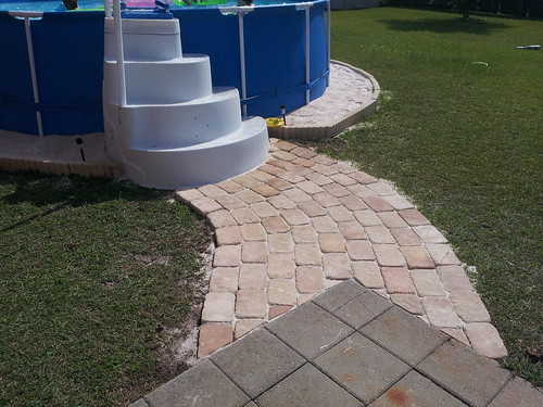 i found the pool steps on craigs list for 25 they are designed to go in the pool but since the pool is so small they work better for us on the outside