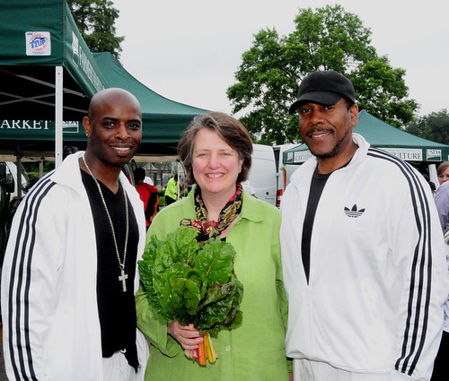 Agriculture Deputy Secretary Kathleen Merrigan with members of Hip Hop Public Health.  The organization educates others about the importance of regular exercise and healthy eating.
