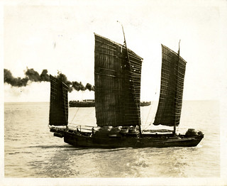 China, Miscellaneous Scenes: Chinese junk with steamboat in background