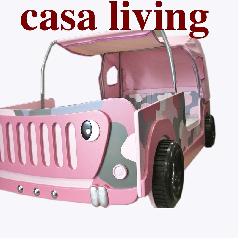 NEW-KIDS-GIRLS-CHILD-TODDLER-SINGLE-PINK-CAMO-JEEP-CAR-BED-WITH-CANOPY-3D-WHEELS