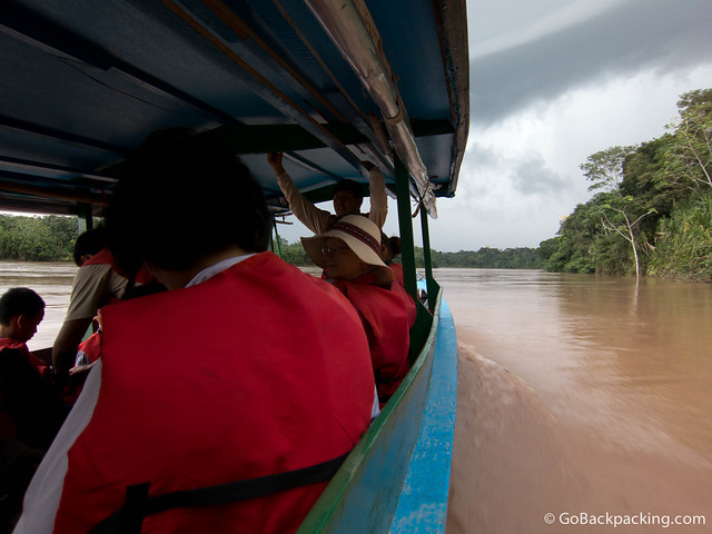 Cruising up the Tambopata River